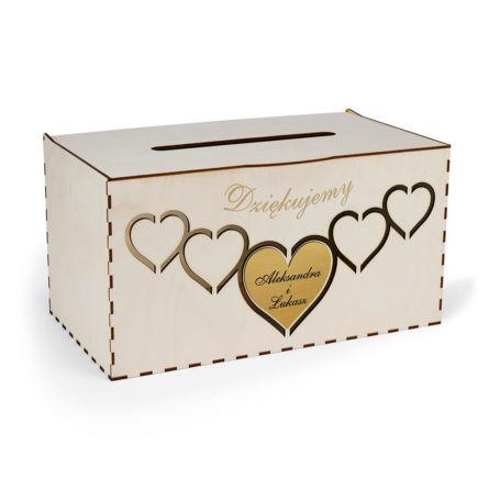 pozioma drewniana skrzynka pudełko na koperty ślubne