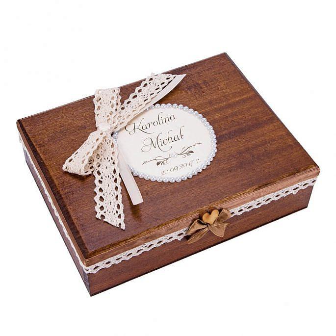 Pudełko na obrączki drewniane malowane koronka