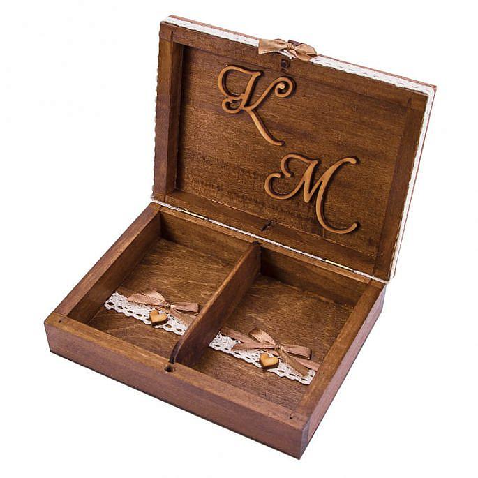 Pudełko na obrączki drewniane malowane