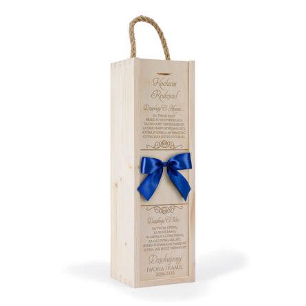 skrzynka na wino kokarda niebieski