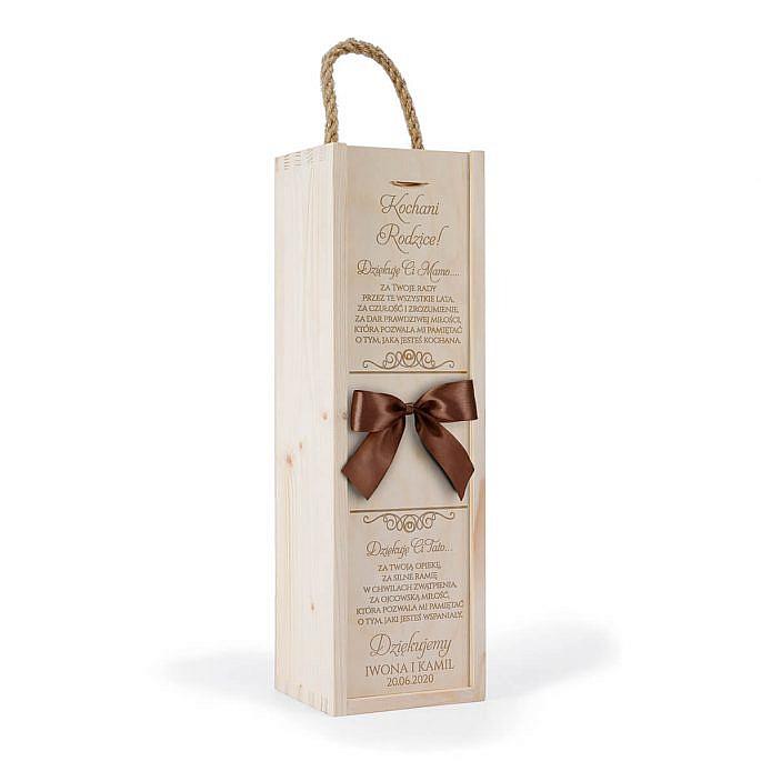 skrzynka na wino kokarda grawer