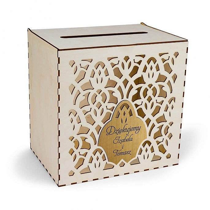 skrzynka pudełko na koperty drewniana złoty grawerowana