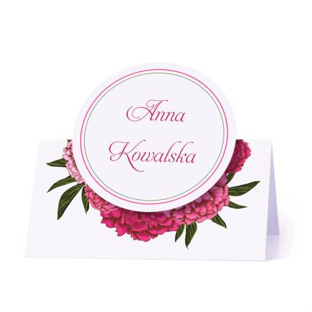 Winietka weselna motyw kwiatowy piwonie różowe personalizacja