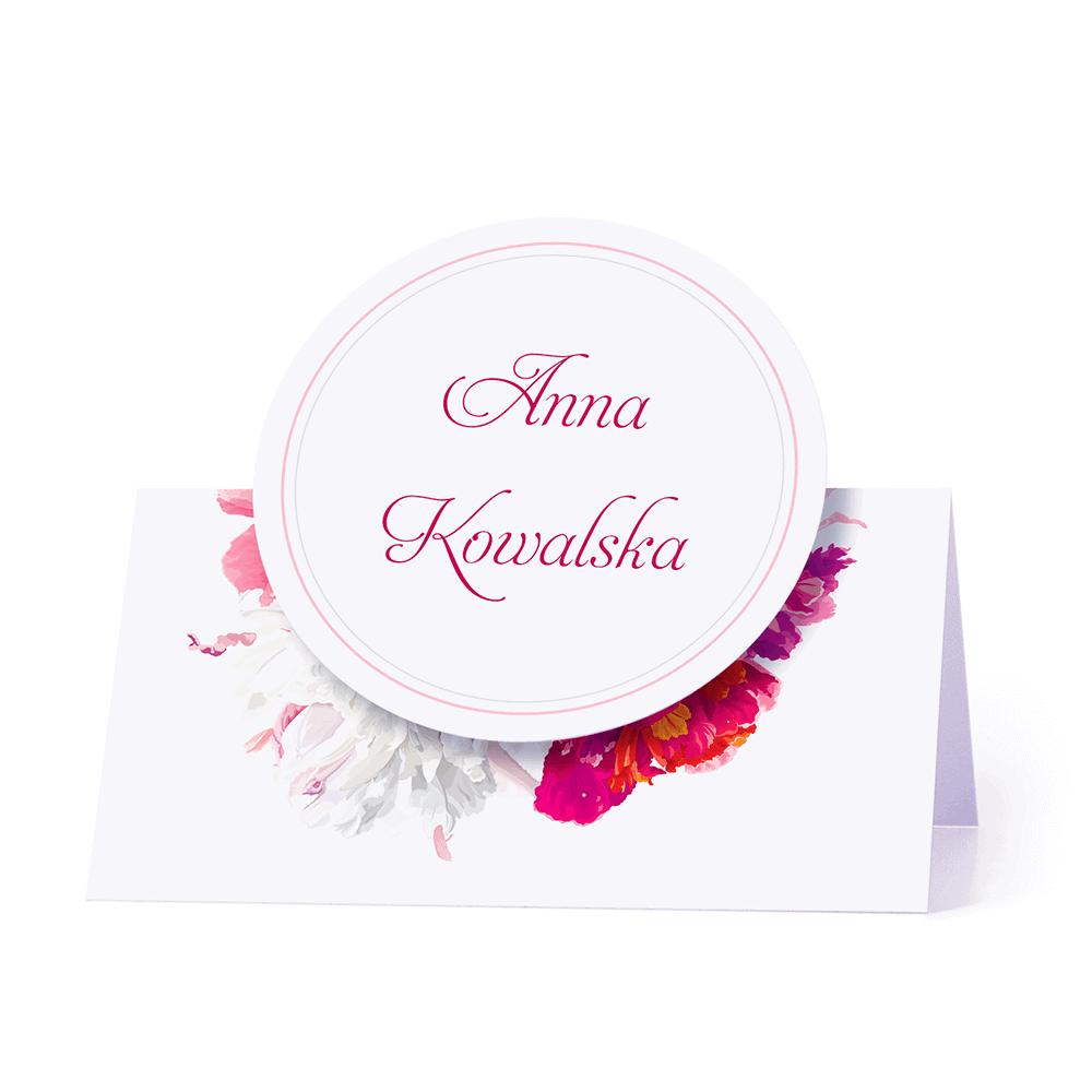 Winietka weselna motyw kwiatowy jasne piwonie personalizacja