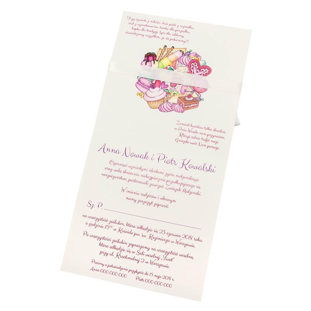 Zaproszenie na ślub słodkie ciasteczka
