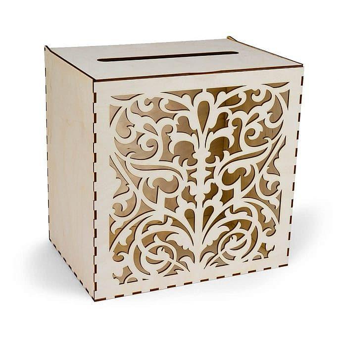 drewniane pudełko na koperty ładny ornament wycinany na laserze