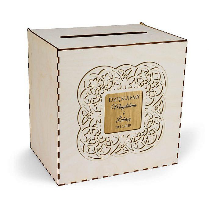 drewniana skrzynka na koperty pudełko w nowoczesnym stylu