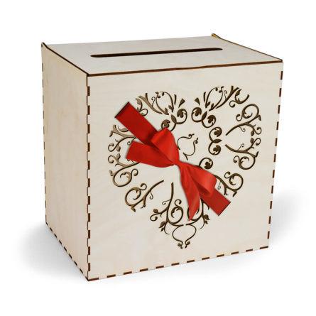 skrzynka na koperty serce przewiązane wstążką w kolorze czerwonym