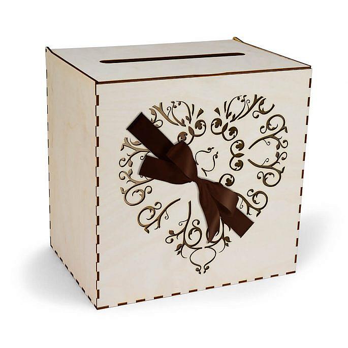 skrzynka na koperty serce przewiązane wstążką w kolorze brązowym