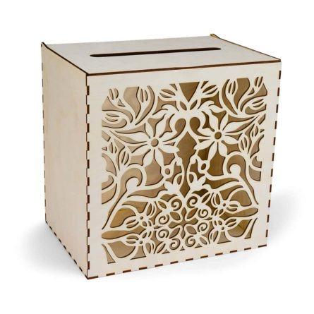 ażurowe pudełko na koperty ślubne