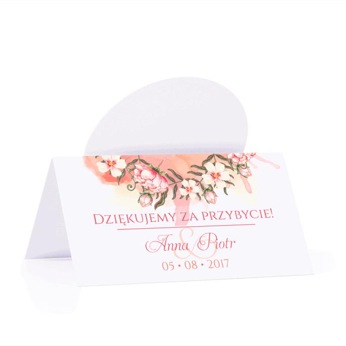 Winietka weselna motyw kwiatowy pomarańczowy personalizacja