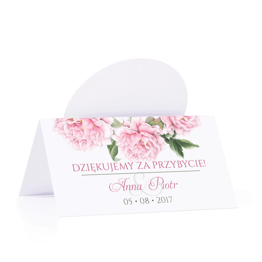 Winietka weselna motyw kwiatowy różowe piwonie personalizacja