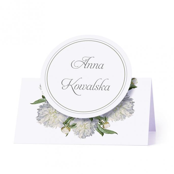 Winietka weselna motyw kwiatowy biała piwonia personalizacja