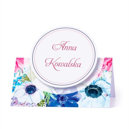 Winietka weselna motyw kwiatowy kolorowy personalizacja