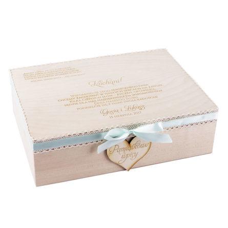 Księga gości szkatułka z sercami na wpisy pamiątkowe drewniana personalizacja