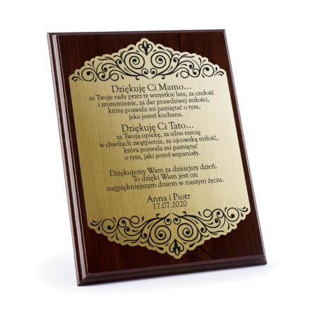 Dyplomy grawerowane z podziękowaniami dla rodziców