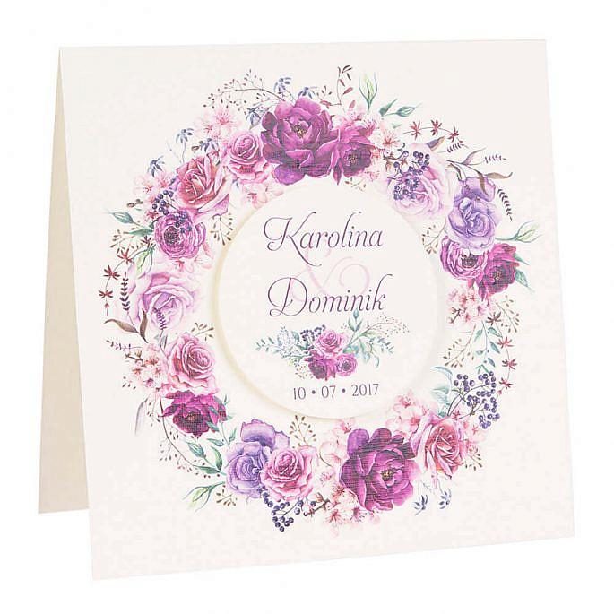 zaproszenia ślubne z kwiatami bez wstążki