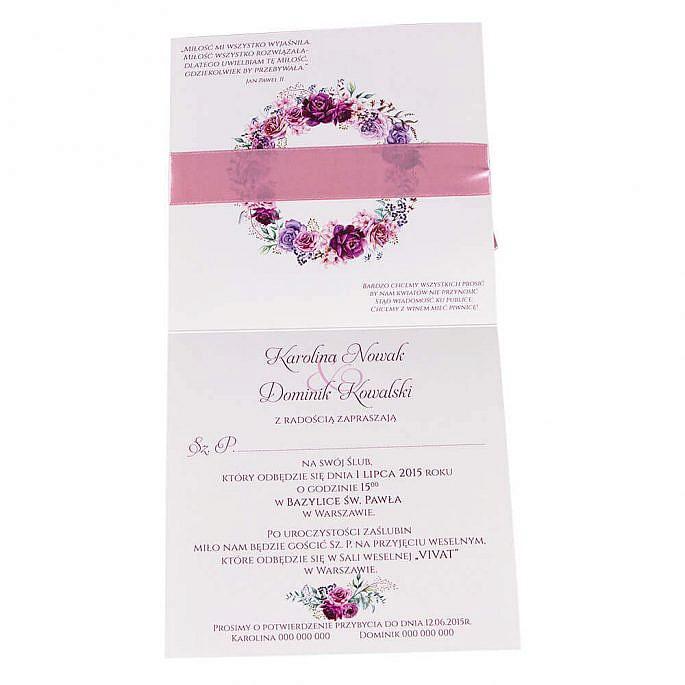 zaproszenia ślubne z kwiatami środek tekst