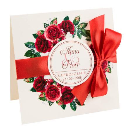 kwiatowe modne zaproszenie na ślub i wesele dla gości róże