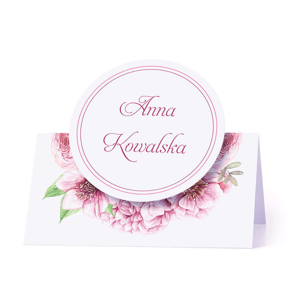 Winietka weselna motyw kwiatowy różowy personalizacja