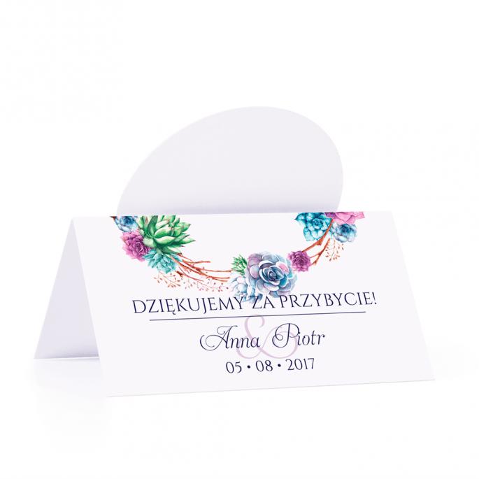 Winietka weselna motyw kwiatowy sukulenty personalizacja