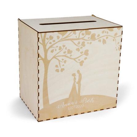 skrzynka na koperty ślubne motyw drzewa z młodą parą