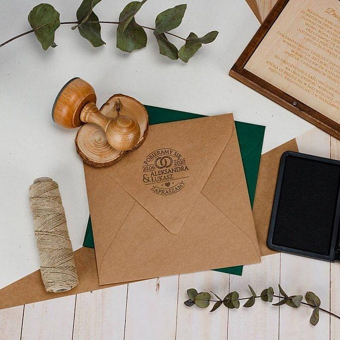 stempel ślubny pięczęć na koperty ślubne