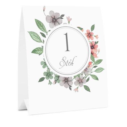 Numer informacja oznaczenie na stół weselny kwiaty