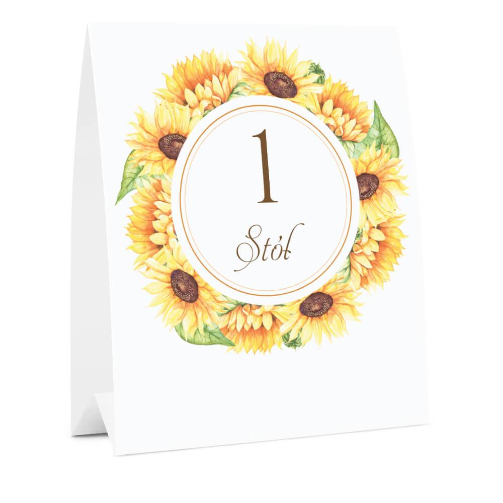 Numer oznaczenie stołu informacja słoneczniki