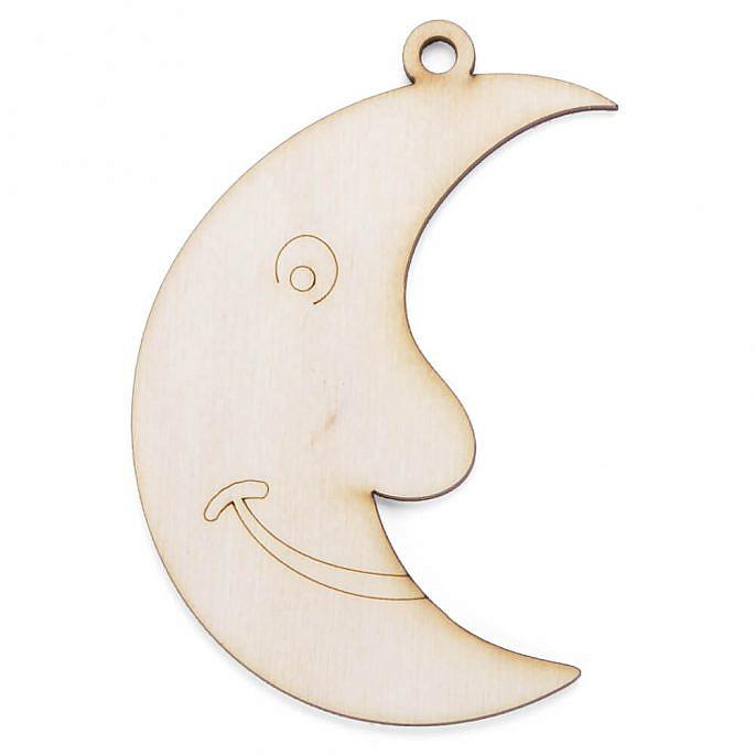 Drewniana ozdoba zawieszka na choinkę święta księżyc