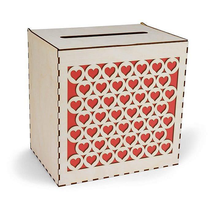 pudełko na koperty z sercami