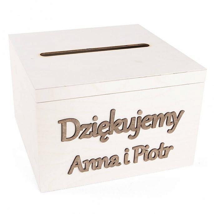 Drewniana skrzynka pudełko na koperty pięniądze prezenty od gości personalizacja