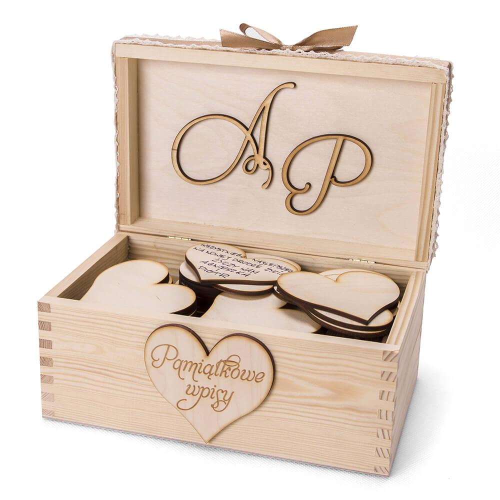 Księga gości drewniana szkatułka serca wpisy życzenia