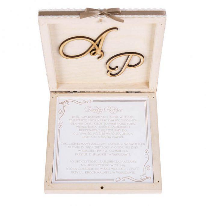 Drewniane eleganckie zaproszenie ślubne dla rodziców świadków pamiątka