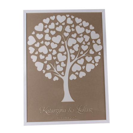 Księga gości drzewo w ramie serduszka pamiątka życzenia