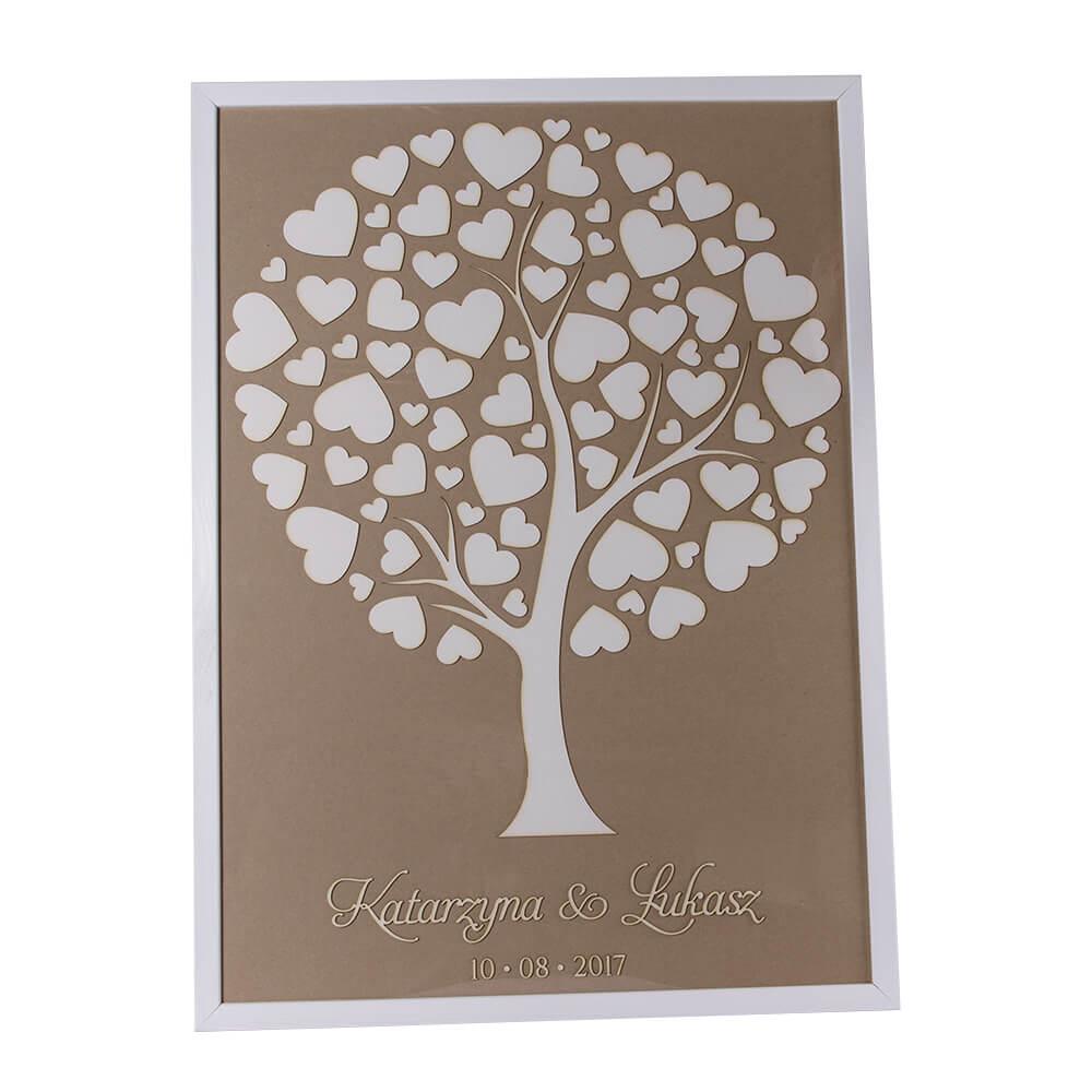 Księga gości drzewo wramie serduszka pamiątka życzenia