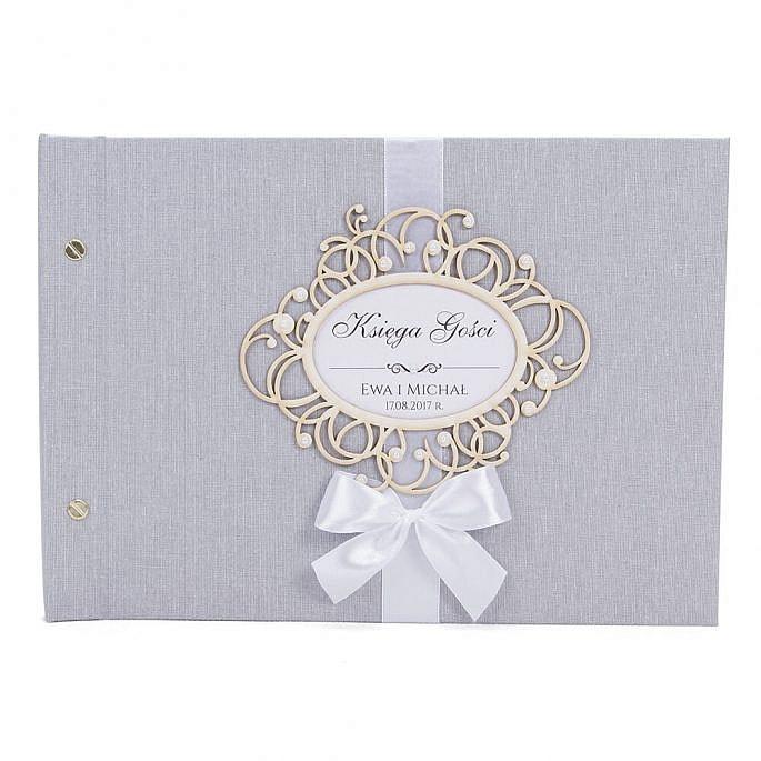 Księga na wpisy gości weselnych personalizacja kolorystyka