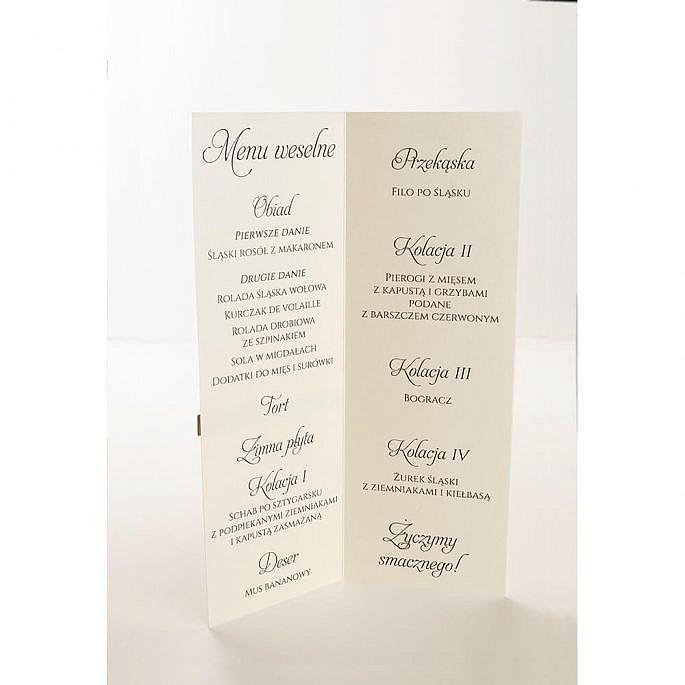 Menu weselne spis dań na stół ozdoba
