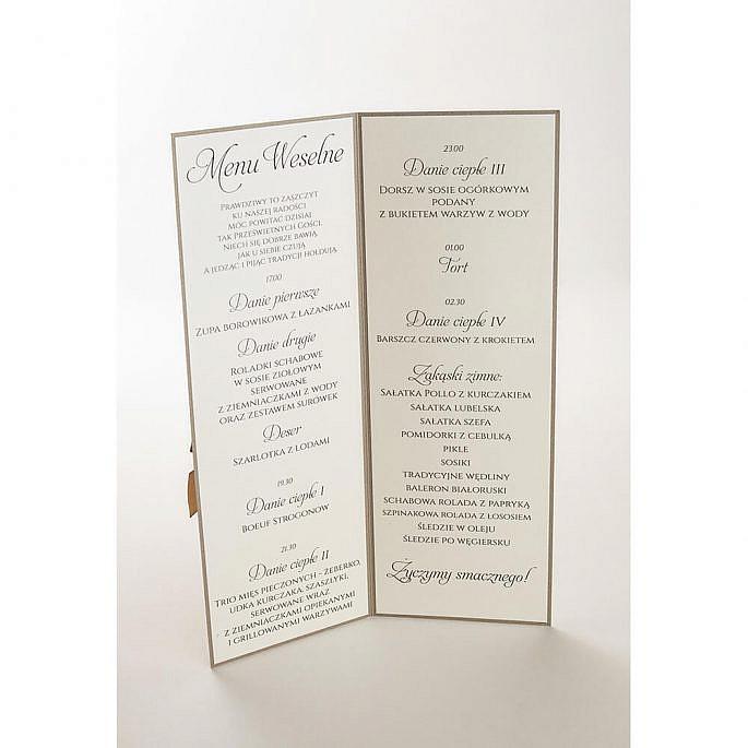 Menu weselne spis dań informacja dla gości