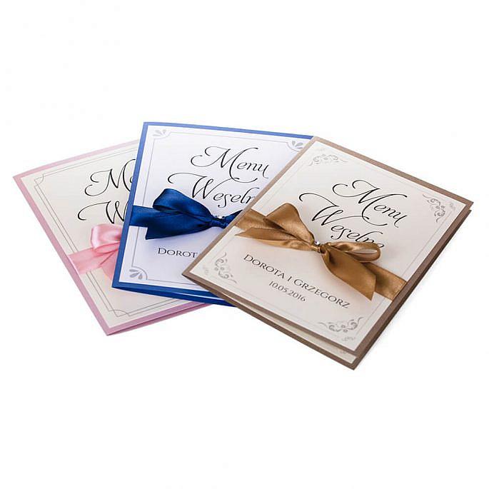 Menu weselne spis dań na stół tradycyjne