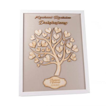 Podziękowanie drzewo w ramie dla rodziców pamiątka