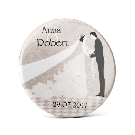Metalowa przypinka oznaczenie podziękowanie dla gości z agrafką modny wzór