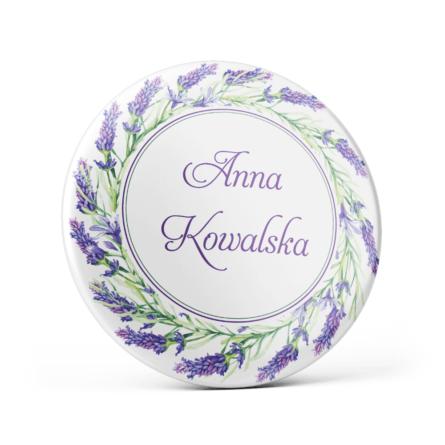 Metalowa przypinka oznaczenie podziękowanie dla gości z agrafką modny wzór kwiatowy lawenda