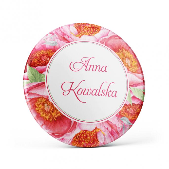 Metalowa przypinka oznaczenie podziękowanie dla gości z agrafką modny wzór kwiatowy