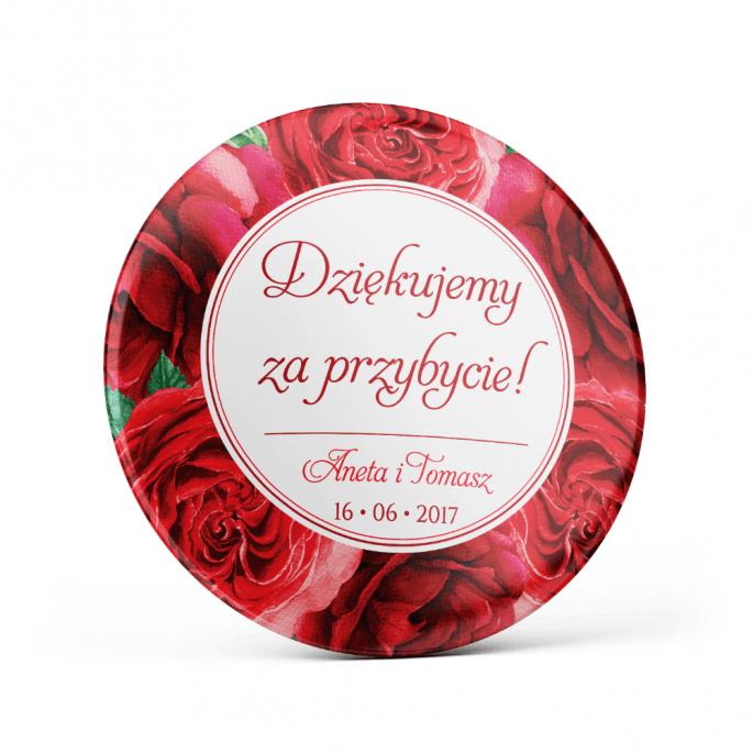 Metalowa przypinka oznaczenie podziękowanie dla gości z agrafką modny wzór kwiatowy róże
