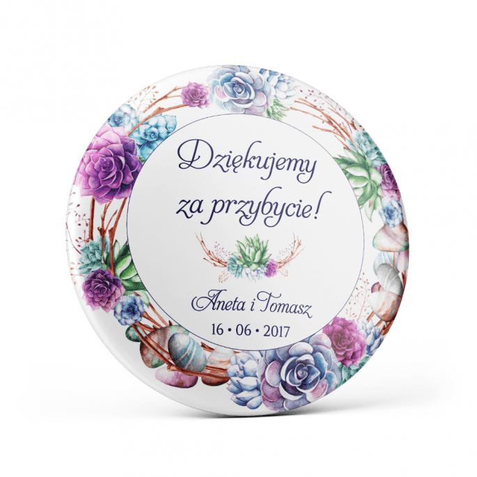 Metalowa przypinka oznaczenie podziękowanie dla gości z agrafką modny wzór kwiatowy sukulenty