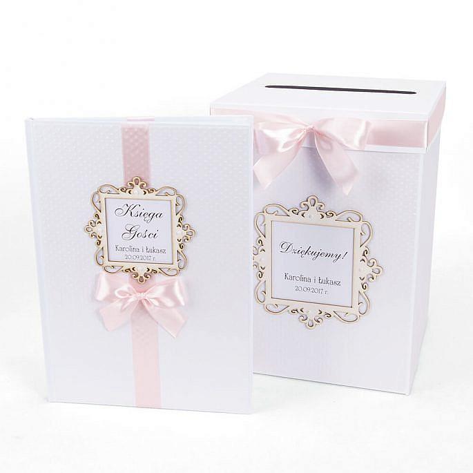 Księga gości pamiątkowe wpisy pudełko na koperty prezenty