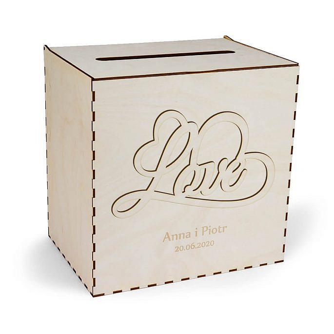pudełko na koperty ślubne z drewna