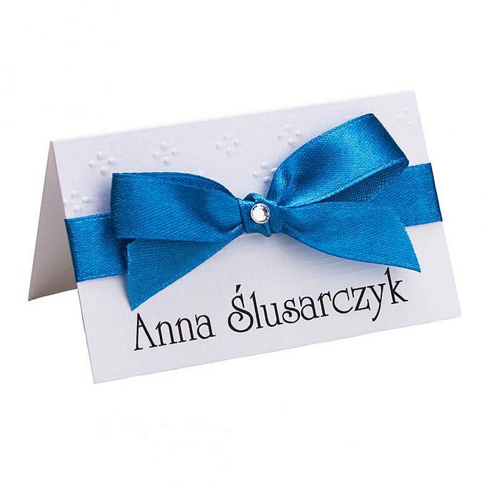 Winietki wizytówki na stół informacja dla gości weselnych personalizacja kokardka