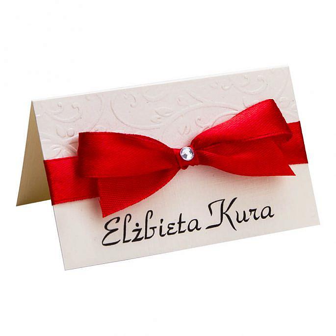 Winietki wizytówki na stół informacja dla gości weselnych personalizacja kokardka papier ozdobny